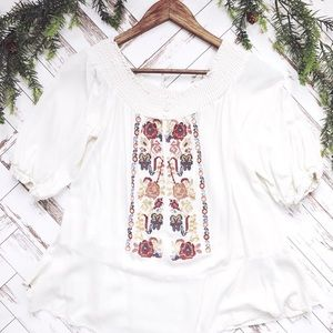 Boho Embroidered Peplum